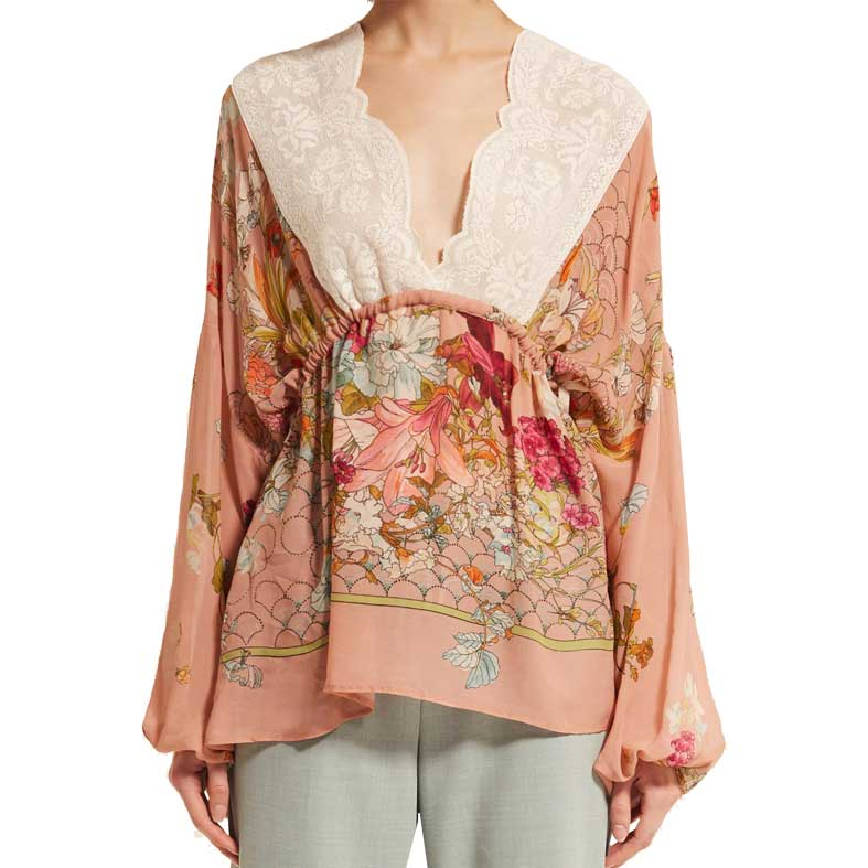 blusa semicouture in georgette fantasia fiori