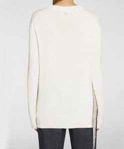 maxi maglia dondup bianca con frange