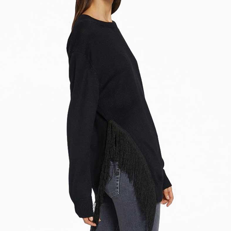maxi maglia dondup nera con frange