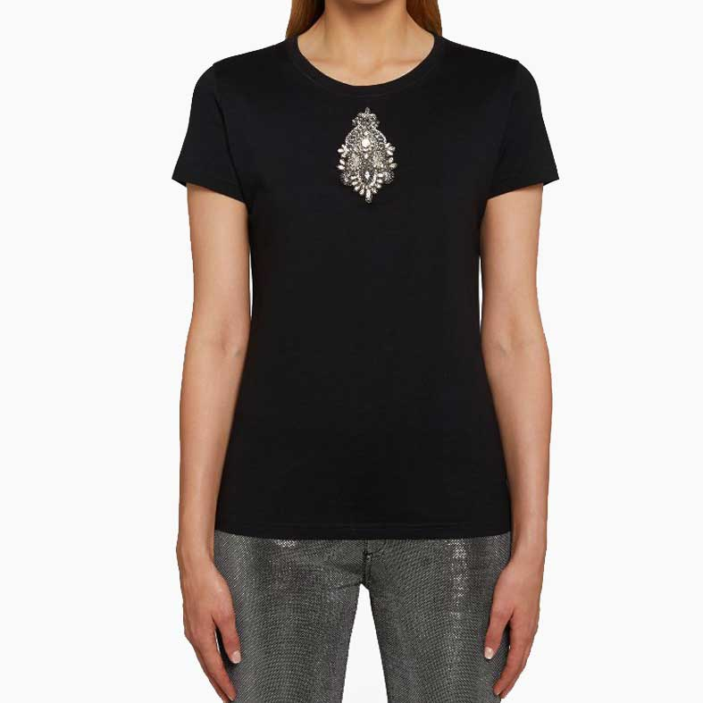 t-shirt dondup nera con logo