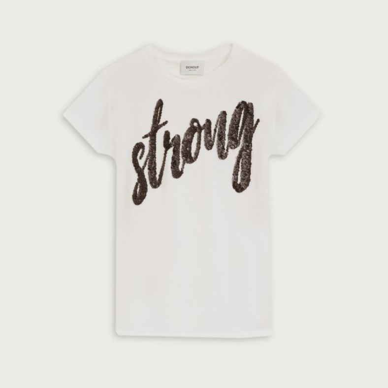 T-shirt Dondup scritta in paillettes