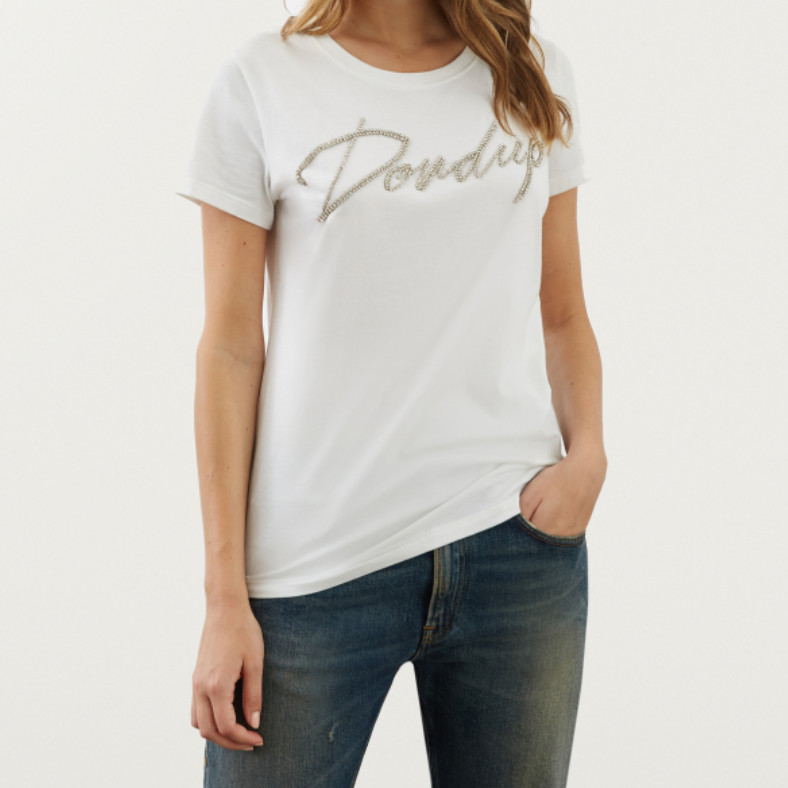 t-shirt dondup con logo in strass