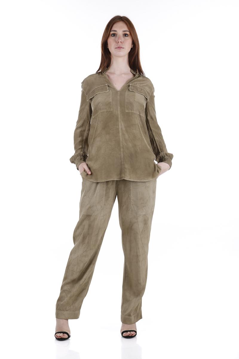Camicia Dondup in raso Fango